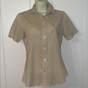 Vtg 80s blue & yellow checked button down shirt